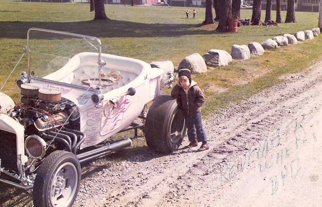 Shane Traquair at the age of three with his fathers Model T Ford hot rod   [PNG Merlin Archive]